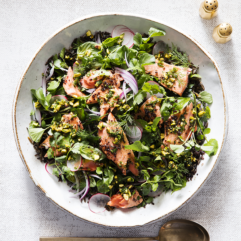 su-Salmon and Grains Salad with Pistachio Salsa Verde Image