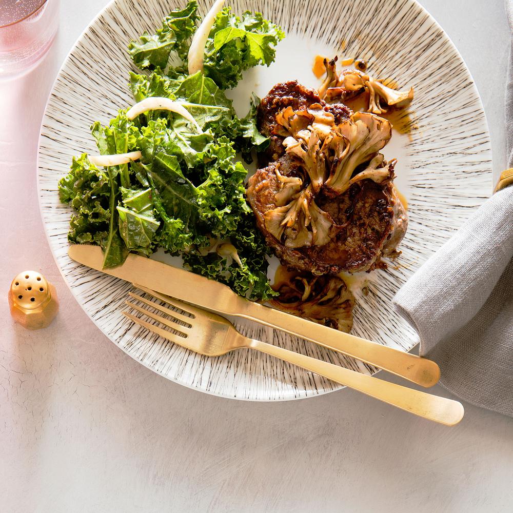 su-Sichuan Peppercorn Filet Mignon with Crisp Mushrooms and Kale Slaw Image