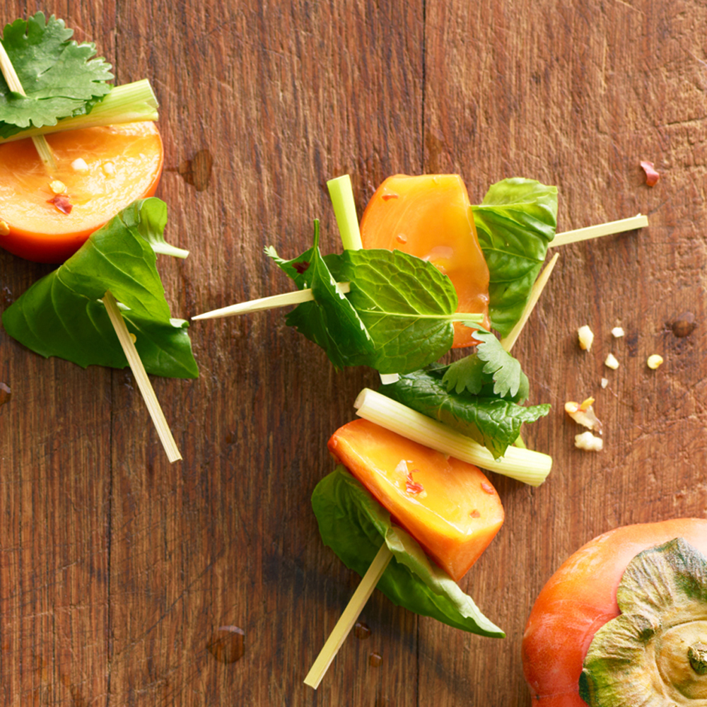 su-Skewered Persimmon and Herb Bites