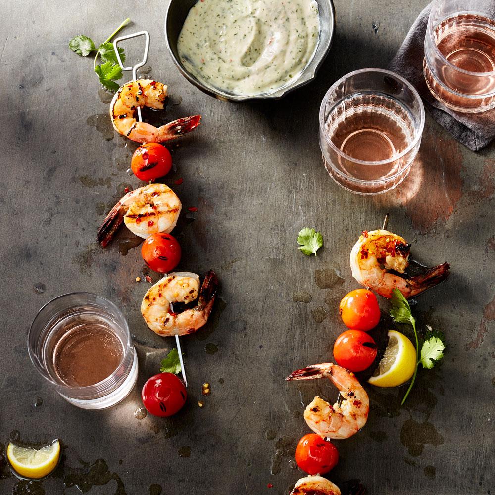 su-Spicy Shrimp Kebabs with Cilantro-Ginger Aioli Image