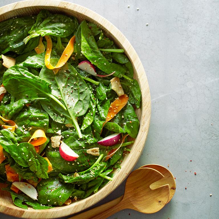 su-Spinach Salad with Tahini Vinaigrette Image