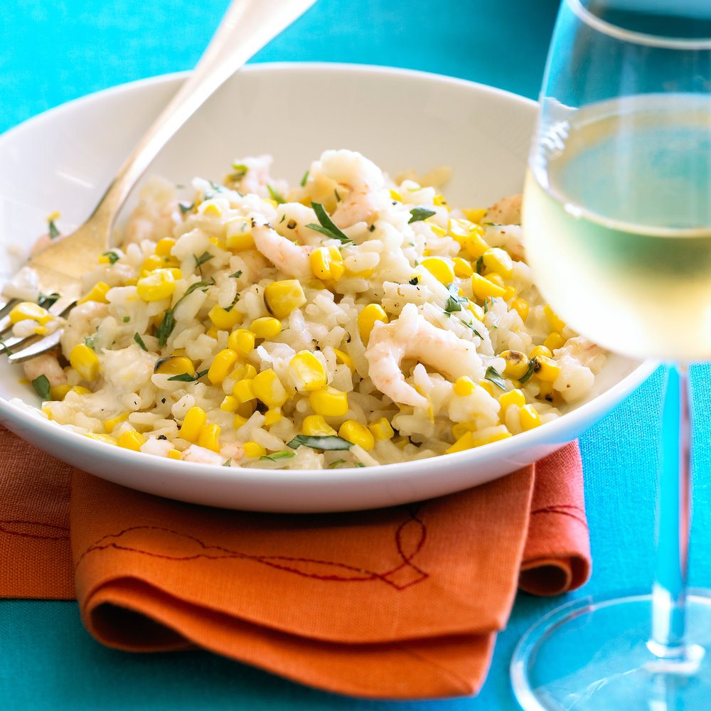 Grilled Corn and Bay Shrimp Risotto