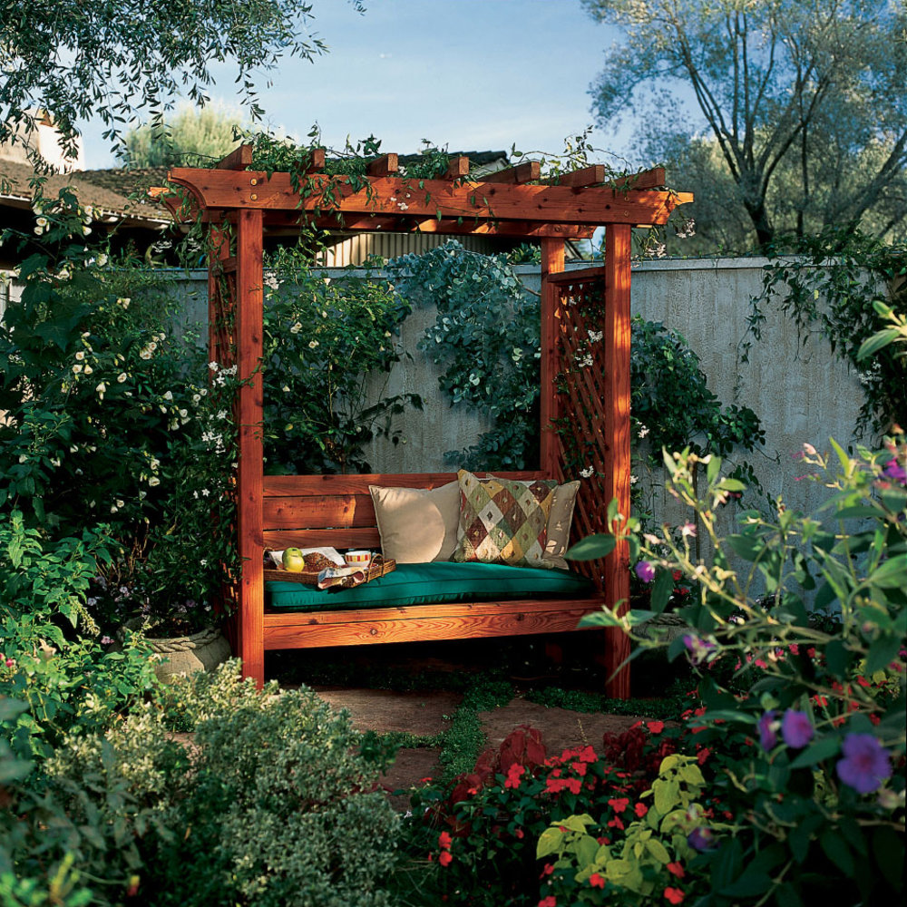 How to Build a Garden Arbor Bench - Sunset Magazine Backyards Ideas With Tree Porch Swing Html on