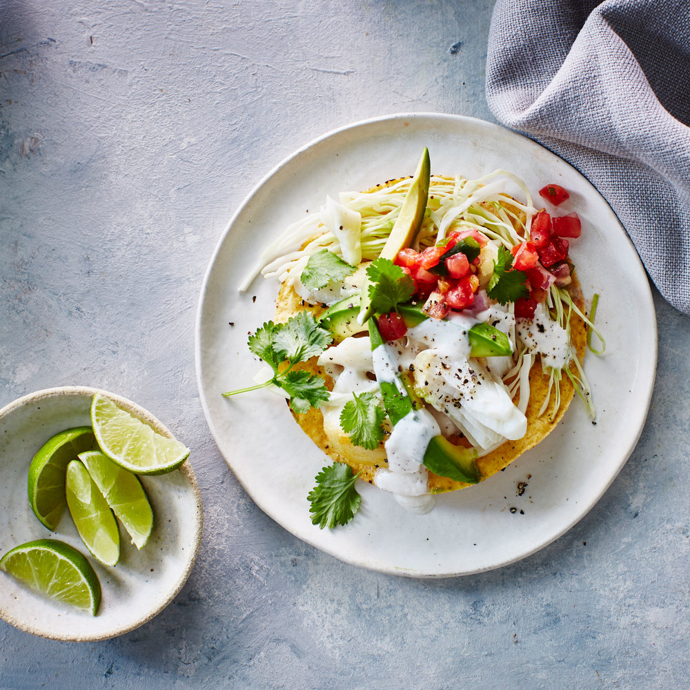Halibut tostadas with yogurt lime sauce sunset magazine for Yogurt sauce for fish