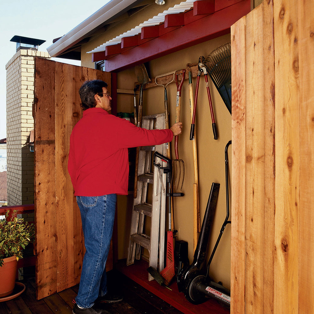this slender structure is an all-weather toolshed that you can build Storage Ideas Eaves