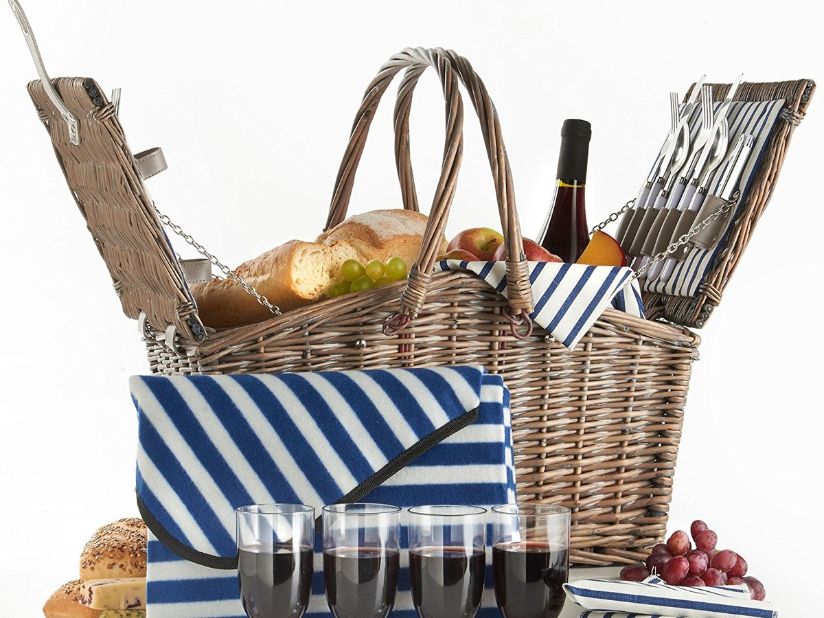 VonShef Deluxe 4 Person Folding Handle Picnic Basket