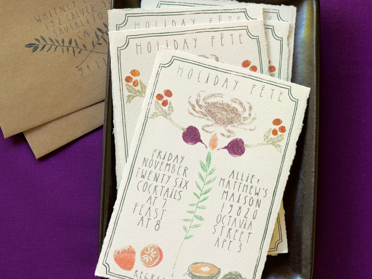 Hand-print your own cards, wrapping paper, and party invitations ...