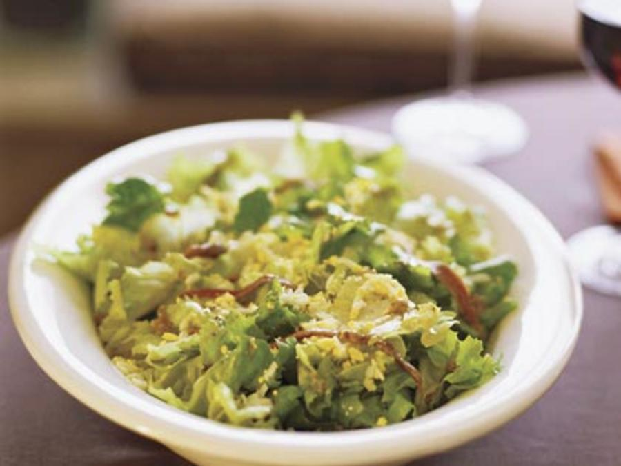 Escarole Salad Chopped Egg Anchovy Vinaigrette Recipe Sunset Magazine