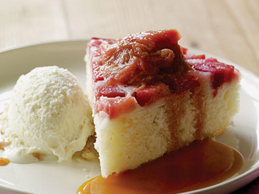 Rhubarb Upside Down Cake Rosemary Caramel Sauce Recipe Sunset Magazine