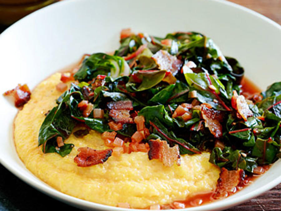 Spicy Rainbow Chard With Bacon And Polenta Recipe Sunset Magazine
