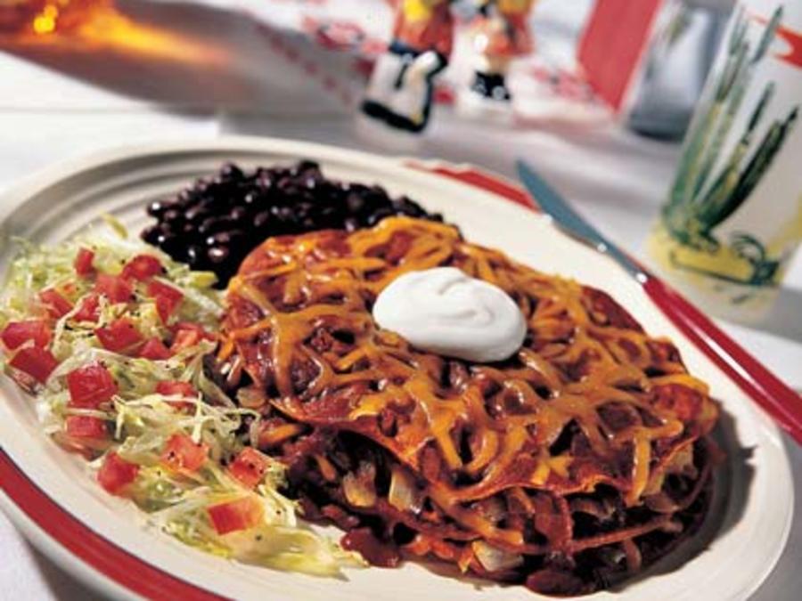 Stacked Red Chili Enchiladas Recipe Sunset Magazine