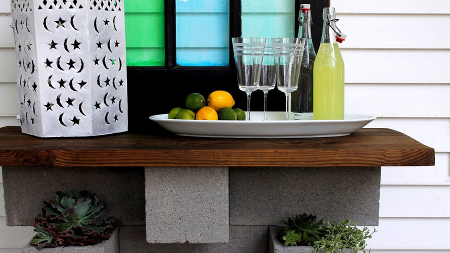 Stack up a cinder-block bar and planter