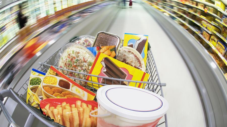 Grocery Store Shopping Cart with Processed Foods