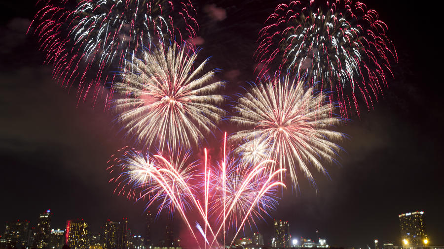 Boom! Last year's 4th of July pyrotechnics display above San Diego— the biggest in the county. (Photo by Nathan Rupert, courtesy of Flickr.)