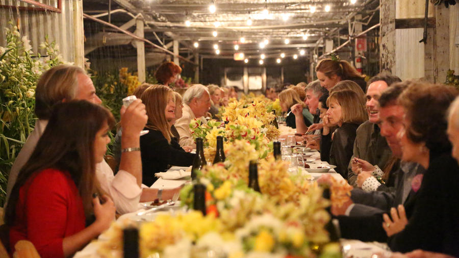 The table was set for the first Field to Vase Dinner held last week in Carpinteria, California at Westland Orchids.