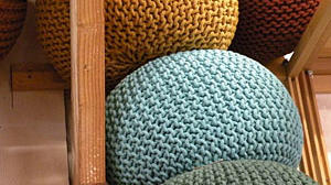 Knitted Poofs from Cost Plus