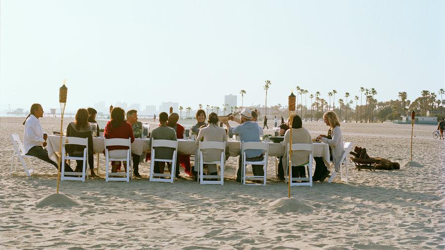 Informal beach feast