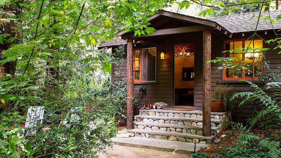 Big Sur cozy cabins at Glen Oaks surrounded by lush vegetation