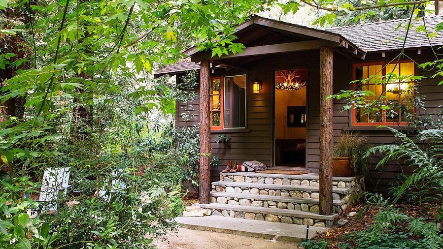 Big Sur cozy cabins at Glen Oaks surrounded by lush vegetation