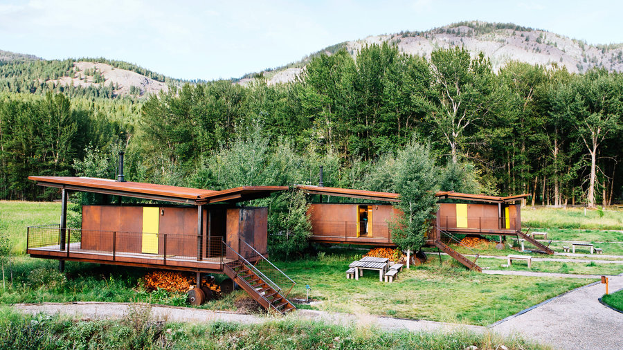 Cozy cabins in Mazama, Washington with rolling hut design set against the mountains