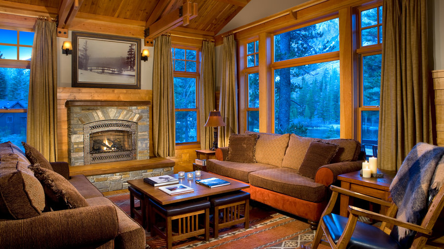 Inside the cozy cabins at Tamarack Lodge
