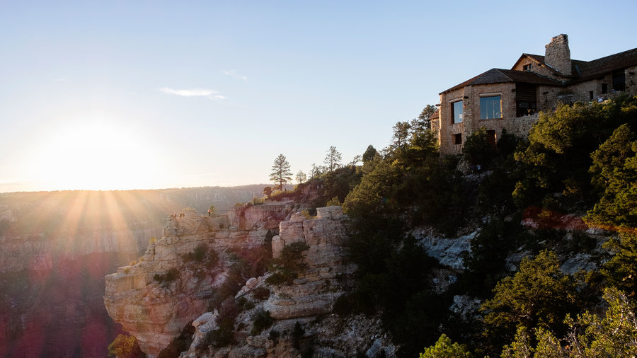 Grand Canyon Lodge sunset view at Grand Canyon National Park off Highway 89