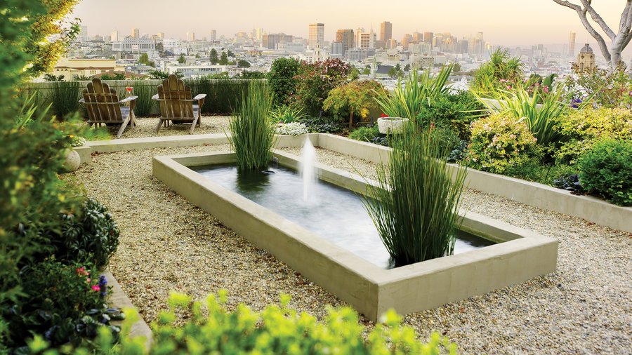 49 landscaping ideas with stone sunset magazine sunset for Contemporary garden pond design ideas