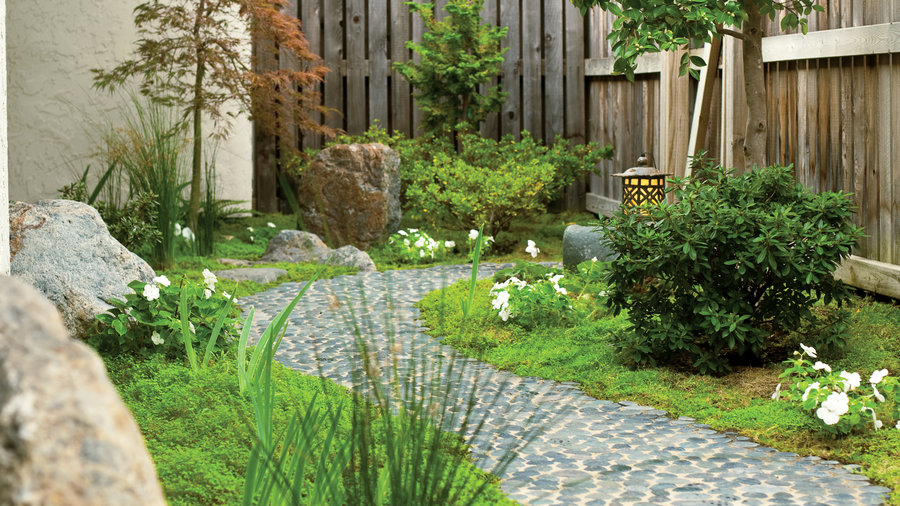 Landscaping Ideas with Stone - Sunset Magazine on backyard brick landscape, backyard brick area, backyard brick pattern, backyard brick wall, backyard driveway,