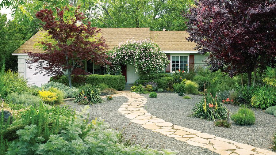 7 inspiring lawn free yards sunset magazine sunset for Easy to care for landscaping ideas