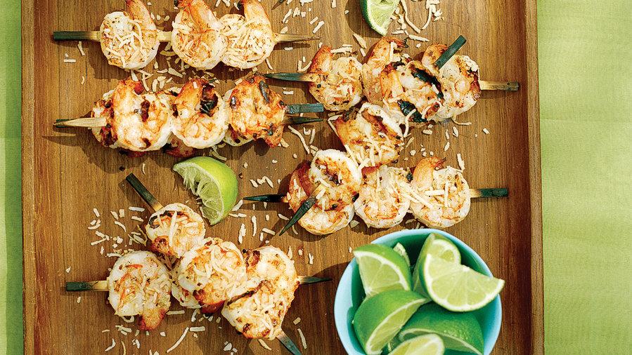 Coconut Lime Shrimp Skewers