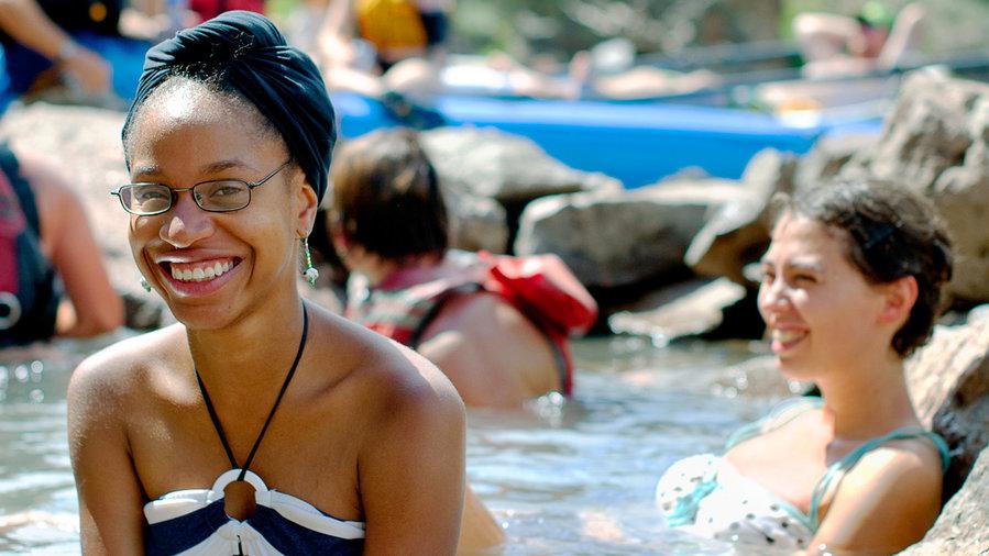 Woman bathes in springs in Kremmling, CO