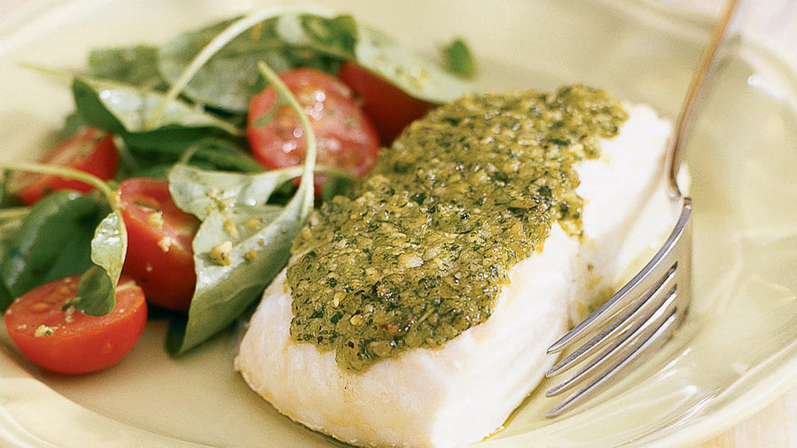 Halibut with Watercress Pesto + Sauvignon Blanc