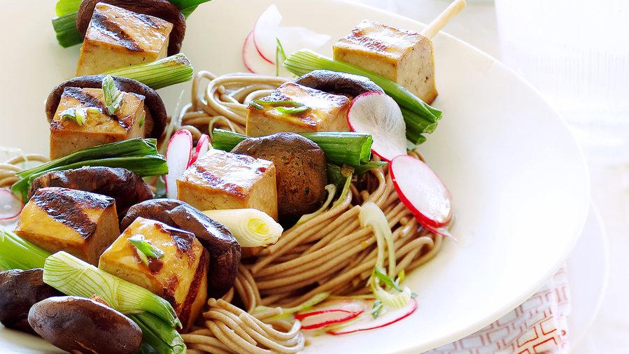 Japanese Tofu Skewers on Soba