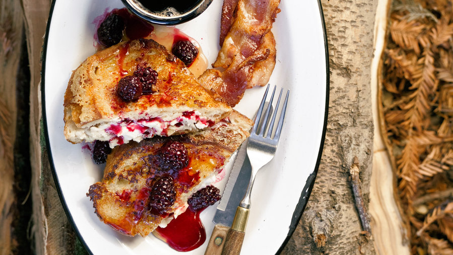 Mascarpone French Toast With Warm Blackberry Syrup
