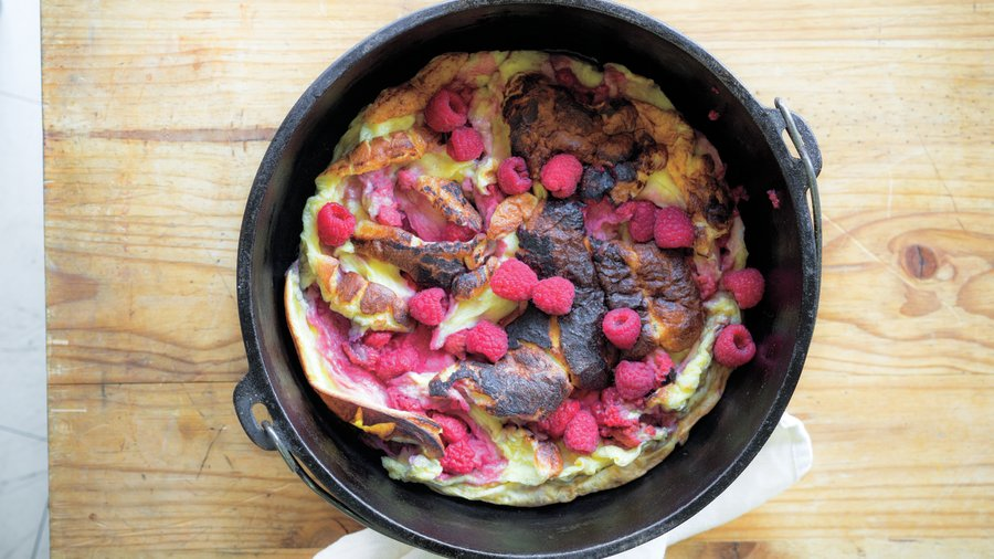 Camping breakfast: Campfire Raspberry Double Dutch Baby (0513)