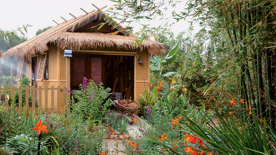 Tropical-style toolshed