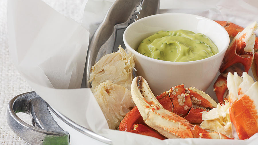 Cracked Crab with Herbed Avocado Sauce