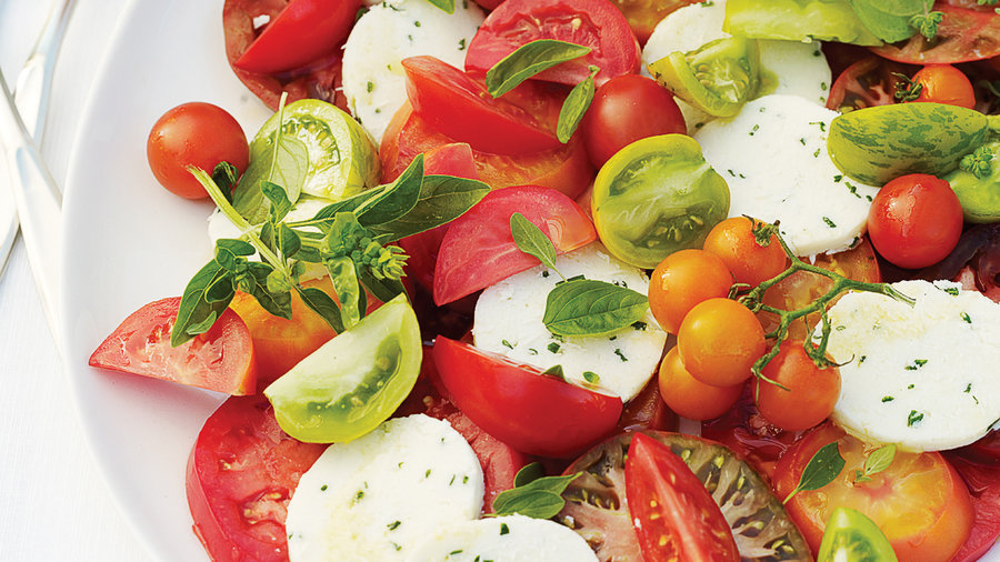 Tomato and Herb Salad with Fresh Chive Cheese