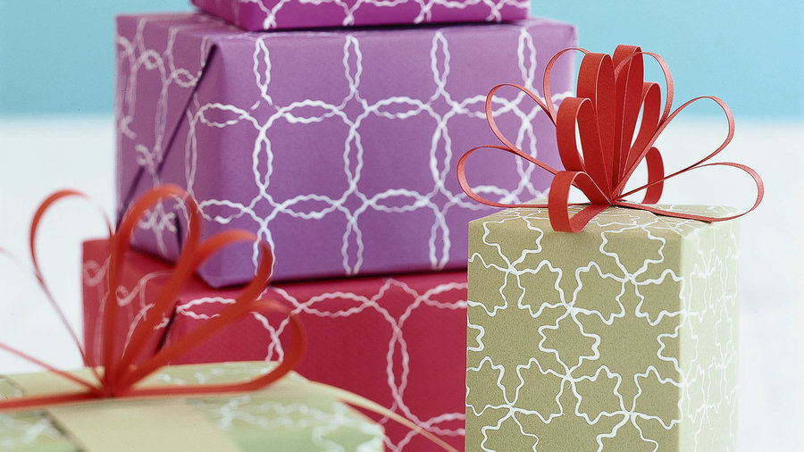 Hand-printed gift wrap