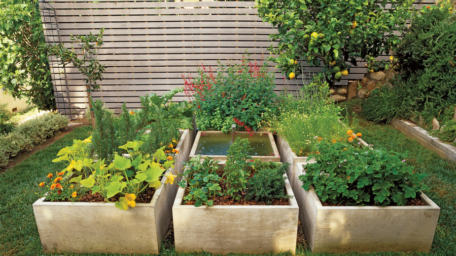 Square Fountain In Planting Bed