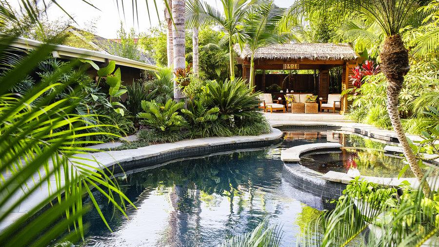 How to design a lush tropical retreat sunset magazine for Pool design magazine