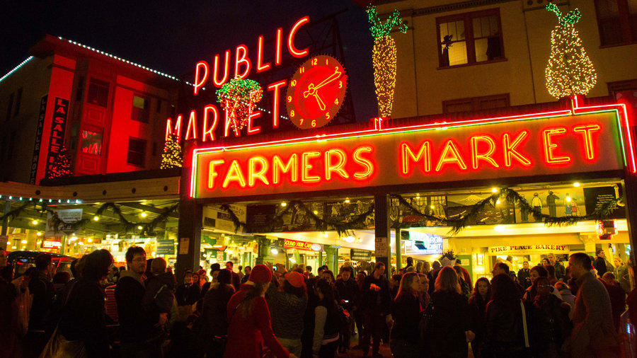 The Pike Place Market lit up for the holidays in Seattle