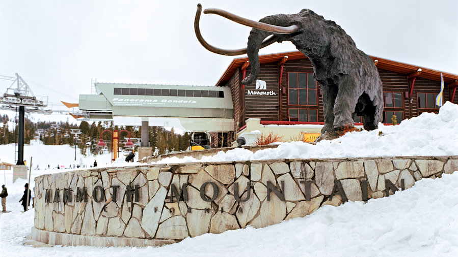 The mammoth statue in the snow at Mammoth Mountain Resort