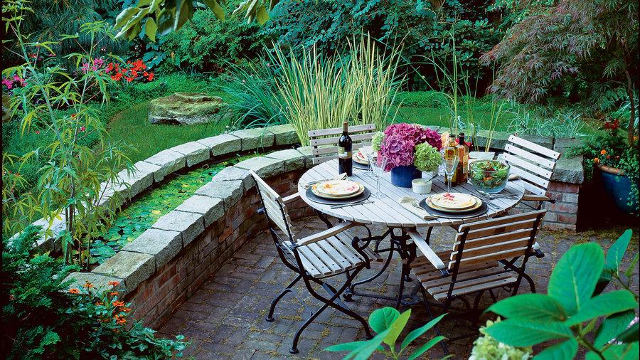 Pond-side patio