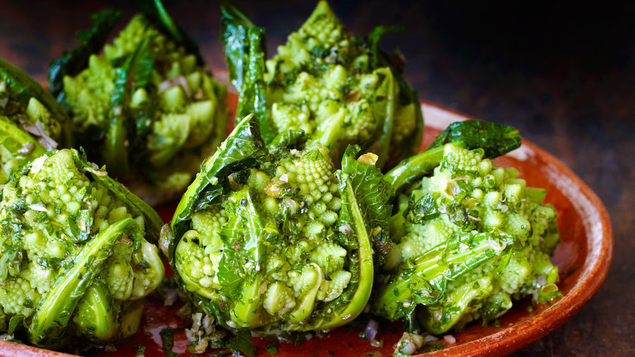Broccoli Romanesco with Green Herb Sauce