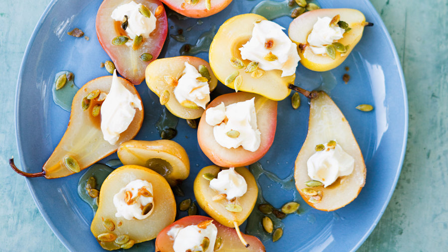 Sauvignon Blanc–Poached Pears with Spicy Pepitas