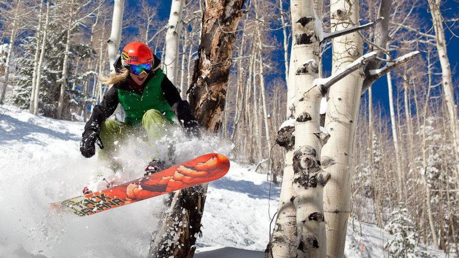 Snowboarder gets air at Aspen Snowmass