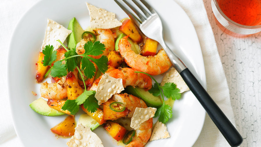 F&F Indian: Curried Peach and Shrimp Salad (0712)