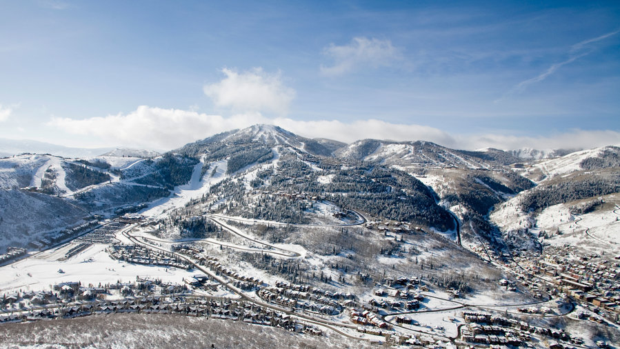 Scenic view of Deer Valley covered in snow