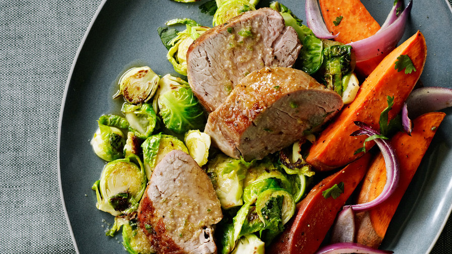 Pork and Charred Brussels Sprouts with Chile Lime Sauce